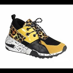 Yellow and Black Sneaker with Leopard
